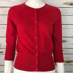 Ann Taylor Red cardigan sweater size XS